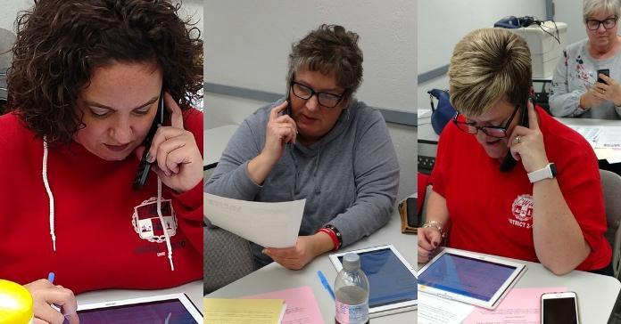 Three Local 13500 members on the phone to support midterm candidates in PA.