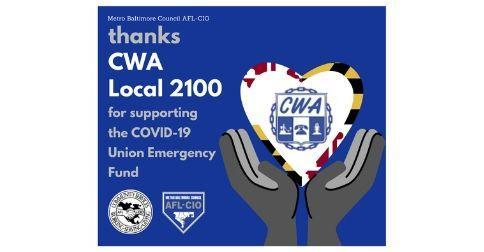 Blue graphic by Metro Baltimore Council AFL-CIO thanking CWA Local 2100