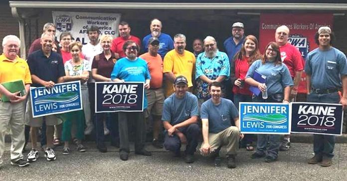 Labor Federation members supporting Kaine and Lewis in 2018 VA mid-term.