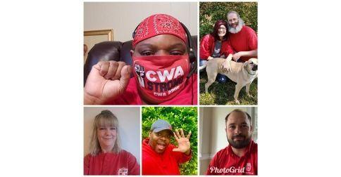 Grid with 5 photos of CWA Local 2205 members in red.