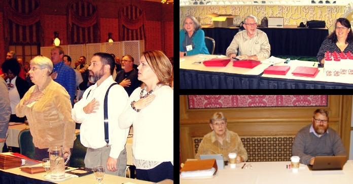 Three images of CWA Staff and allies at the WV District Meeting.