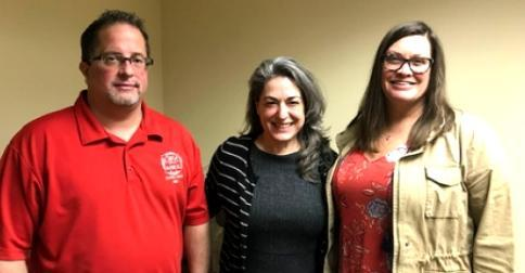 CWA Local 13000 VP-West Gregg Bialek, Chelsa Wagner, and Local 13500 VP Cindy Neumeyer.