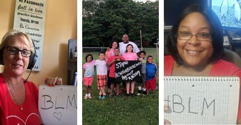 Three images of CWA Local 2001 members and family holding Black Lives Matter signs.
