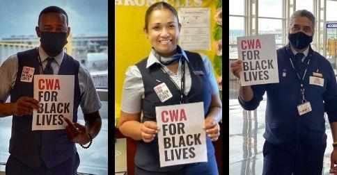 """Three CWA Local 2252 members at DCA holding """"CWA For Black Lives"""" signs"""