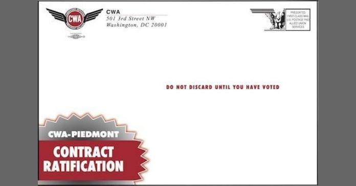 Sample Piedmont contract ratification ballot envelope.